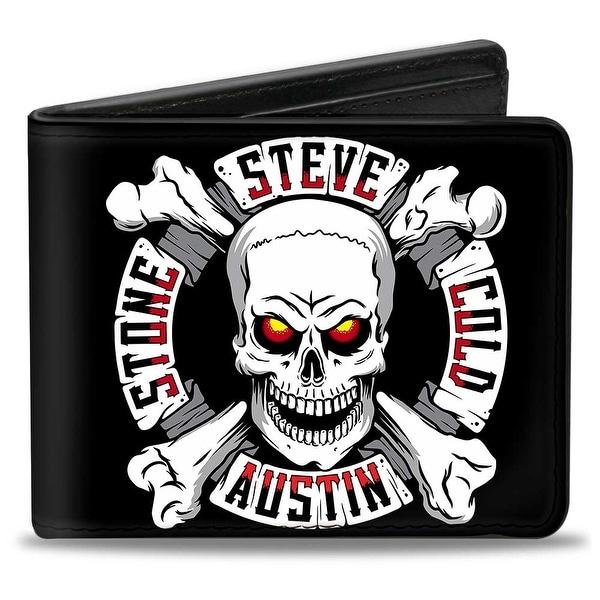 Stone Cold Steve Austin Skull & Cross Bones Icon + Austin 3:16 Black Grays Bi-Fold Wallet - One Size Fits most