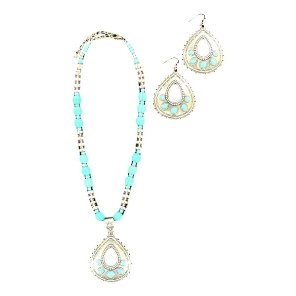 Blazin Roxx Jewelry Women Necklace Earring Tear Drop Turq Silver 29086