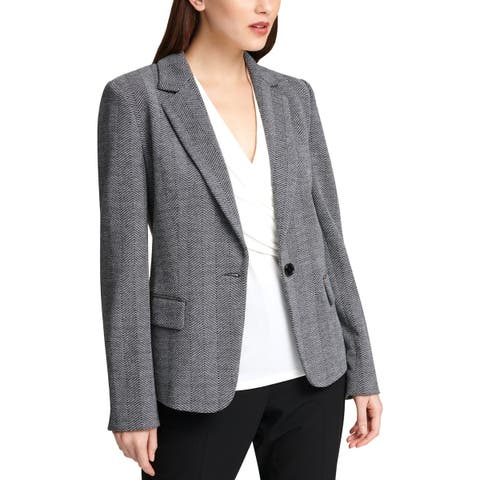 DKNY Womens One-Button Suit Jacket Herringbone Suit Separate