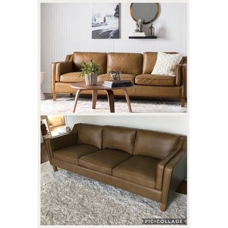 Shop Jasper Laine Canape 86-inch Oxford Honey Leather Sofa - Free ...