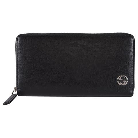 caac6ffa60a Gucci 408801 Black Leather GG Plaque Zip Around Wallet Clutch - 7.5