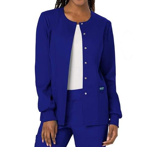Cherokee Womens Work Jacket Blue Size Medium M Medical Snap Front
