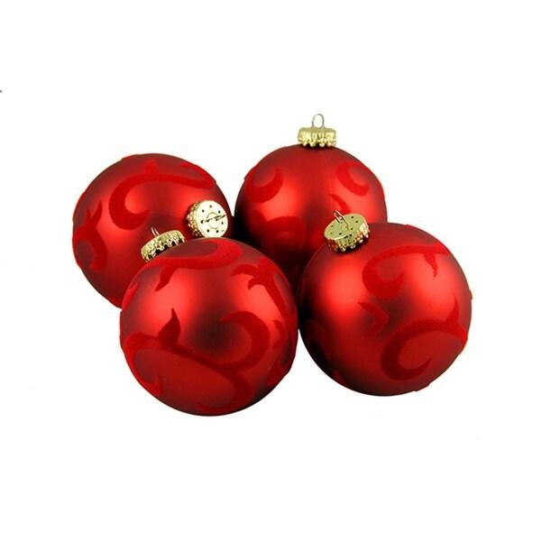 "4ct Red Flocked Flourish Shatterproof Christmas Ball Ornaments 2.75"" (70mm)"