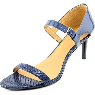 Calvin Klein Luigina Women  Open Toe Patent Leather Blue Sandals