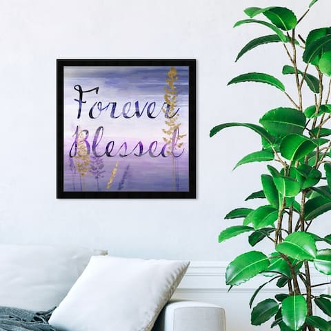 Oliver Gal 'Forever Blessed Lilac' Spiritual and Religious Wall Art Framed Print Religion - Purple, Gold
