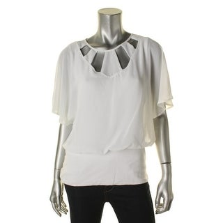 Joseph A Womens Blouse Cut-Out Blouson