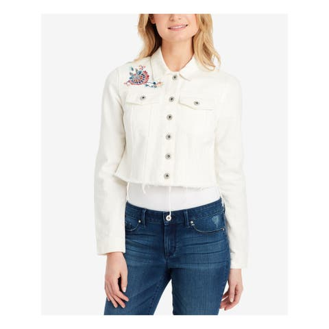 JESSICA SIMPSON Womens Ivory Embroidered Cropped Denim Jacket Size M