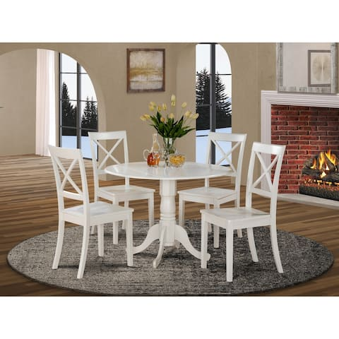 The Gray Barn Windy Poplars Linen White Small Table and 4 Dinette Chairs 5-piece Dining Set - Linen White Finish