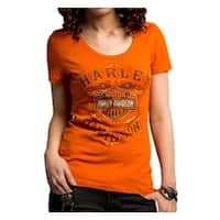 Harley-Davidson Women's Never Be Neglected Short Sleeve Tee, Orange 5E34-HC9V