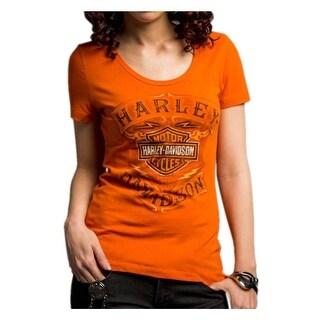 Harley-Davidson Women's Never Be Neglected Short Sleeve Tee, Orange 5E34-HC9V