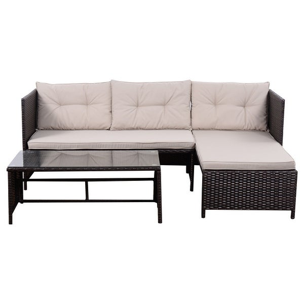 costway 3 pcs outdoor rattan furniture sofa set lounge chaise cushioned patio garden new free shipping today overstockcom 22737782