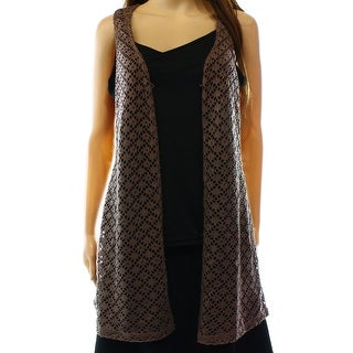 Wallpapher NEW Brown Women's Size Medium M Toasted Almond Vest Sweater