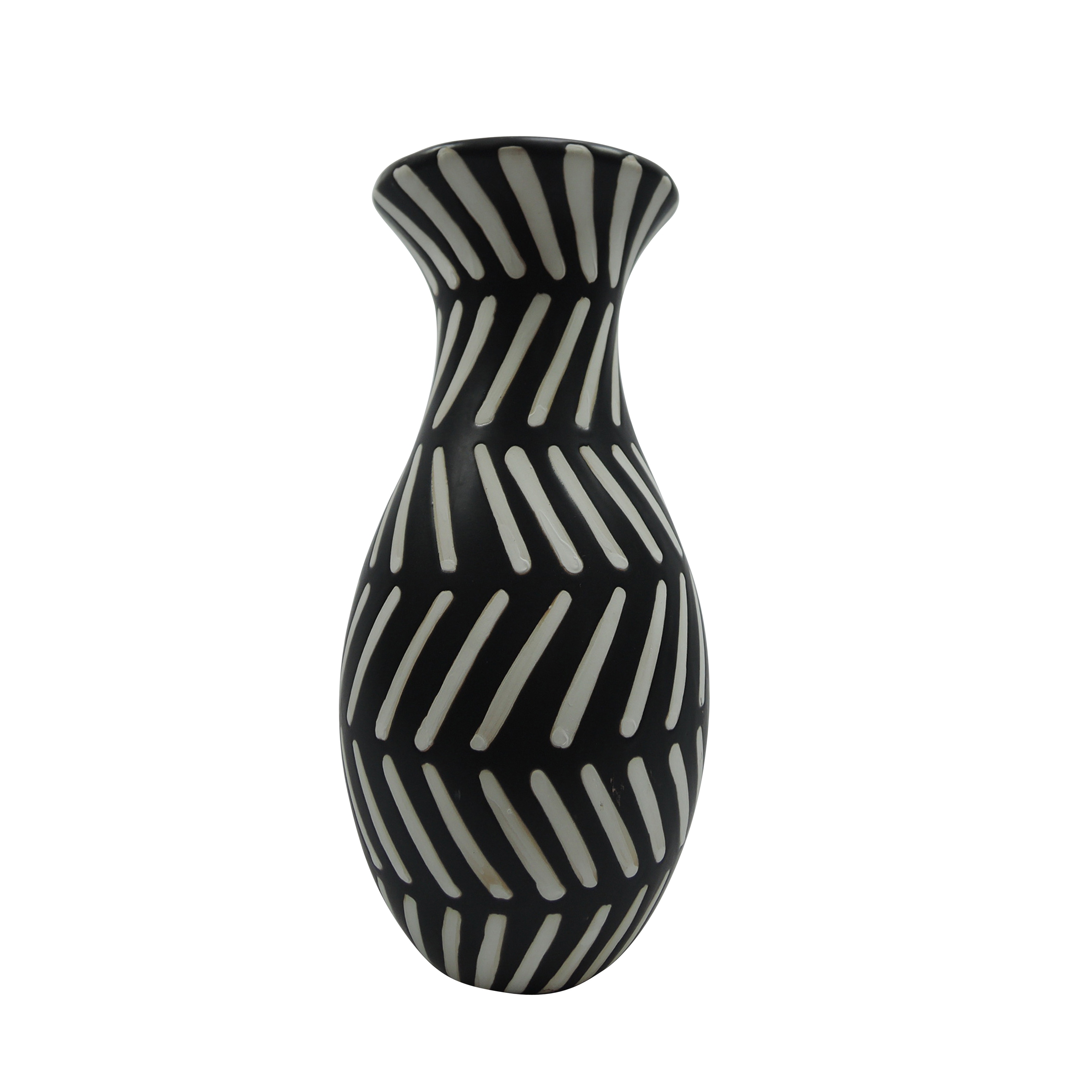 Ceramic Curved Shaped Vase with Tribal Pattern, Black and White