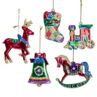 "Pack of 30 Reindeer, Carousel, Stocking, Bell and Train Christmas Ornaments 3"" - multi"