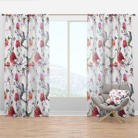 Designart 'Vintage Pattern: Bird, Flowers, Leaves' Farmhouse Curtain Panel