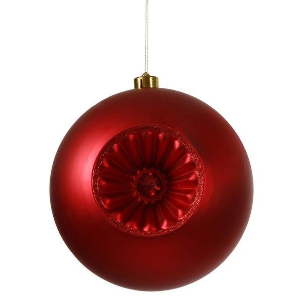 "Matte Red Hot Retro Reflector Shatterproof Christmas Ball Ornament 8"" (200mm)"