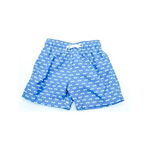 Azul Baby Boys Blue Dragonflies Allover Print Drawstring Swim Shorts
