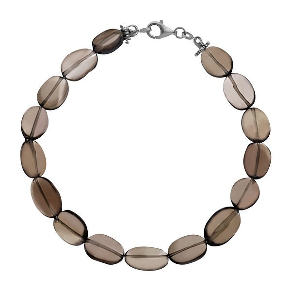 49 ct Natural Smoky Quartz Bracelet in Sterling Silver - Smokey