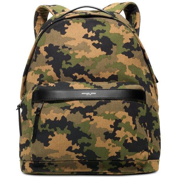 825b2b70b04f Shop Michael Kors NEW Green Men s Black Canvas Grant Camo Print Backpack -  Free Shipping Today - Overstock - 18368703
