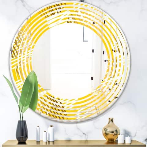 Designart 'Abstract Retro Geometric IV' Modern Round or Oval Wall Mirror - Wave