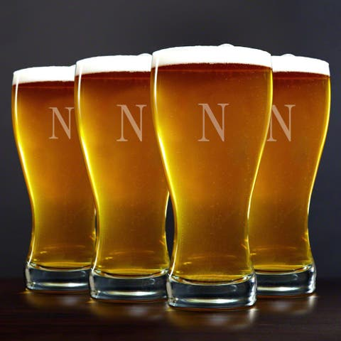 Personalized Pilsner Glasses, Set of 4