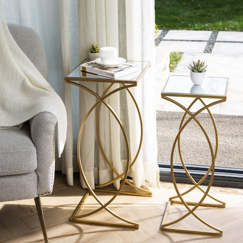 Glitzhome Metal with Glass Accent Table (Set of 2)