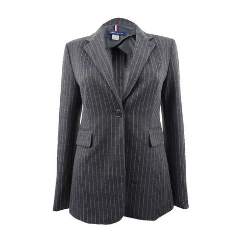 Tommy Hilfiger Women's Pinstriped One-Button Knit Jacket