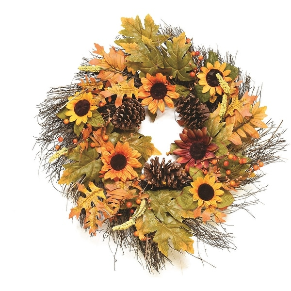 "24"" Autumn Harvest Decorative Artificial Fall Leaves Berries Pinecones & Sunflowers Wreath - Unlit"