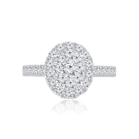 Lab Grown 1ctw Oval Halo Diamond Engagement Ring 14k Gold by Ethical Sparkle
