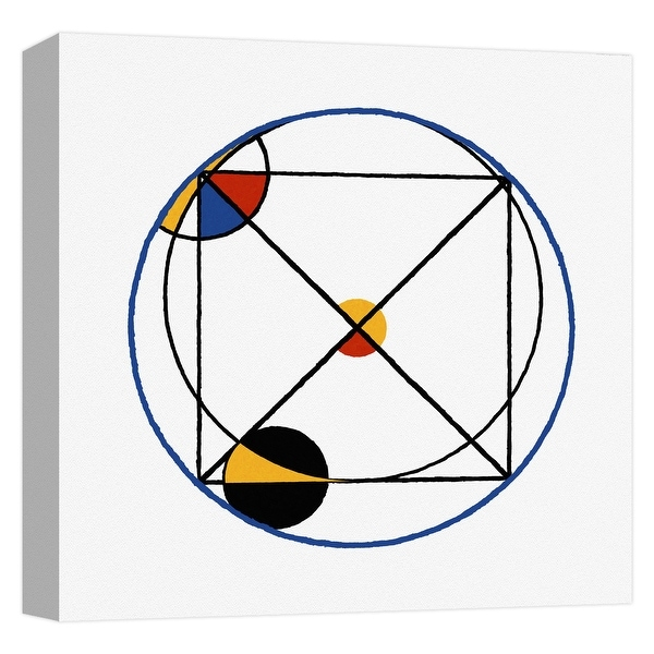 "PTM Images 9-124665 PTM Canvas Collection 12"" x 12"" - ""Mondrian Circle V"" Giclee Patterns and Designs Art Print on Canvas"