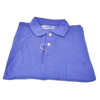 Cutter & Buck Men's Navy Blue Heather Large CB Drytec Chelan Short Sleeve Polo