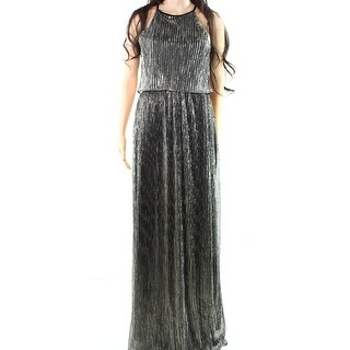 Soieblu NEW Silver Womens Size Medium M Shimmer Popover Maxi Dress