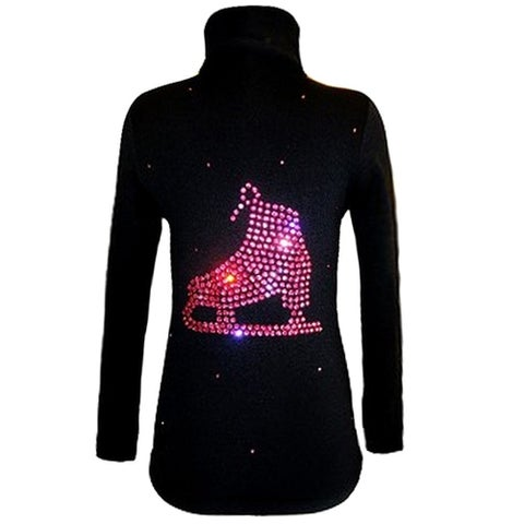 Ice Fire Skate Wear Black Large Skate Crystal Jacket Girl 4-Women L