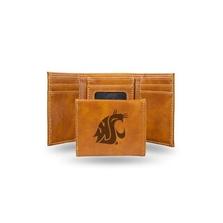 4 Brown College Washington State Cougars Laser Engraved Trifold Wallet N A