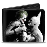 Arkham City Batman & Joker Fight Pose Black Grays White Bi Fold Wallet - One Size Fits most