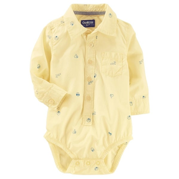 bf9aa1de2 Shop OshKosh B'gosh Baby Boys' Button-Front Poplin Bodysuit, 6-9 Months -  Free Shipping On Orders Over $45 - Overstock - 25614181