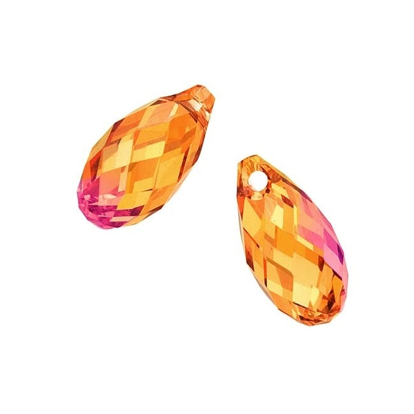 Swarovski Elements Crystal, 6010 Briolette Pendants 11x5.5mm, 2 Pieces, Crystal Astral Pink