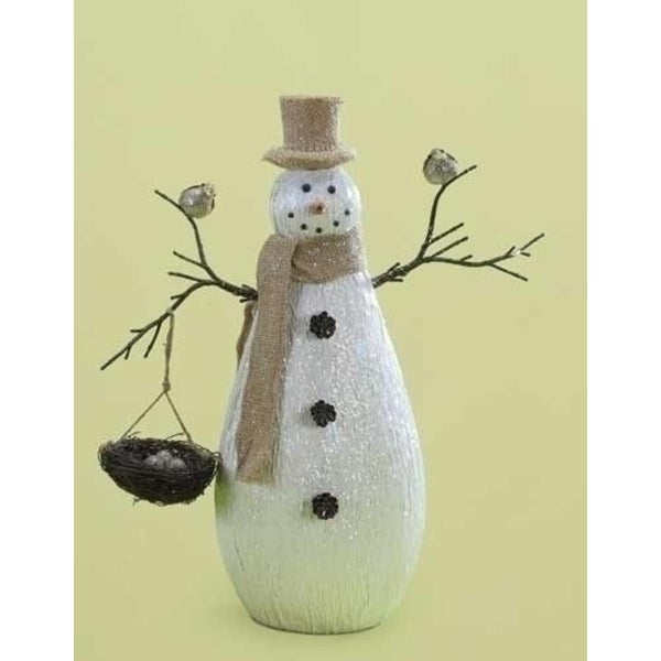 """16"""" Rustic Snowman with Bird and Nest Christmas Tabletop Figure - WHITE"""