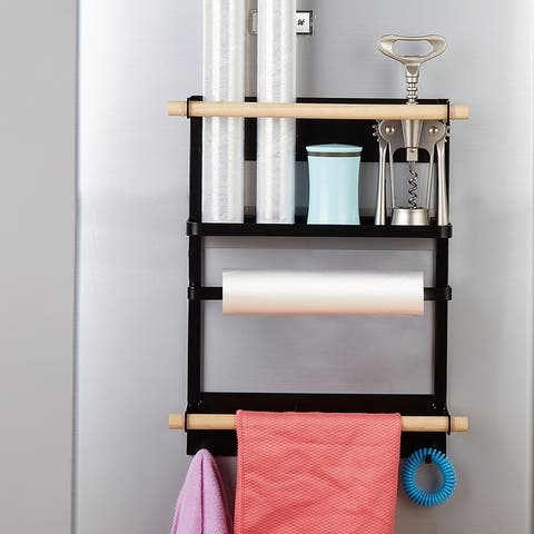 Kitchen Magnetic Refrigerator Storage Rack,Spice Rack with Hooks