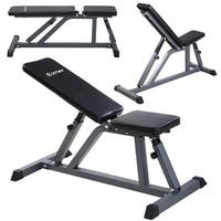 Costway Adjustable Folding Sit Up AB Incline Abs Bench Flat Fly Weight Workout - Black