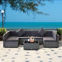 Havenside Home Siara 7-pcs Rattan Wicker Sectional Patio Set Deals