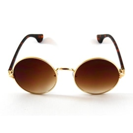 John Lennon Sunglasses Retro Round Frame, Gradient Brown Lens