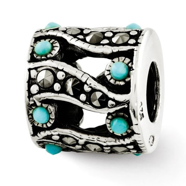 Sterling Silver Reflections Marcasite & Turquoise Bead (4mm Diameter Hole)