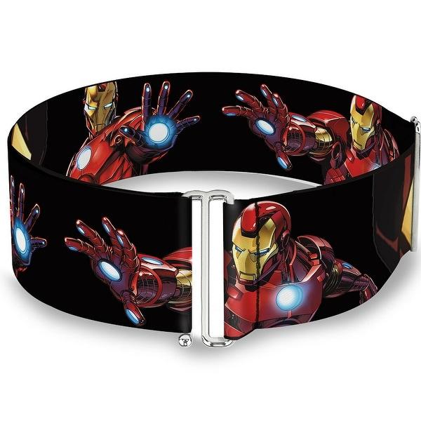 Marvel Avengers Marvel Avengers Iron Man Poses Face Close Up Black One Size Sinch Waist Belt ONE SIZE