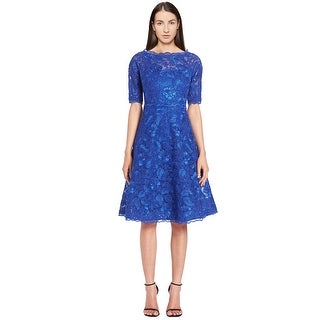 Teri Jon Floral Lace Fit & Flare Short Sleeve Cocktail Evening Dress - 14