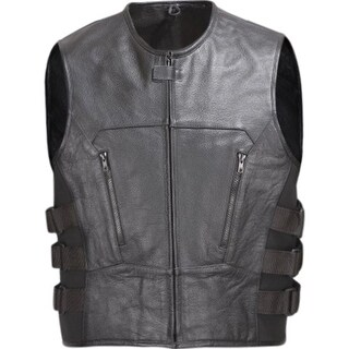 Men Leather Motorcycle Biker Vest Bullet Proof Style Black V107