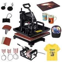 Costway 8 in 1 Heat Press Machine Digital Transfer Sublimation T-Shirt Mug Hat Plate Cap - Black