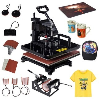 Costway 8 in 1 Heat Press Machine Digital Transfer Sublimation T-Shirt Mug Hat Plate Cap