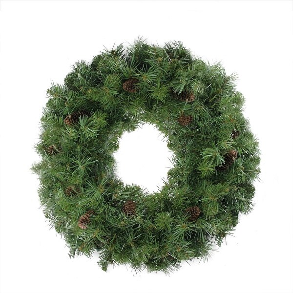 "24"" Dakota Red Pine Artificial Christmas Wreath with Pine Cones - Unlit"