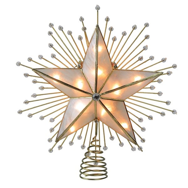 8 75 Lighted Capiz Star With Beaded Sunbursts Christmas Tree Topper Clear Lights N A